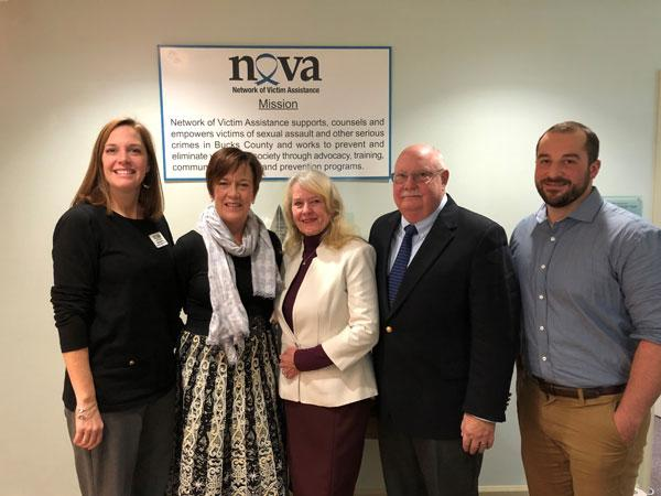 Pictured (L to R) are: Mandy Mundy, Senior Director of Programs and Services; Penny Ettinger, Executive Director; Elaine Fitt; Robert Fitt; and Steve Doerner, Director of the Bucks County Children's Advocacy Center.