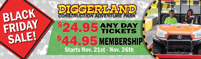 Diggerland's Black Friday Sale has the best prices of the year on any day tickets ($24.95), memberships ($44.95), and XL experiences.
